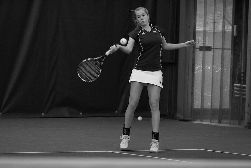 The Eagles' singles players won six of the last seven games in the match Saturday. Sophomore Miram Westerink shown here in 2009, won over Rachel McGowan 6-2,6-2.