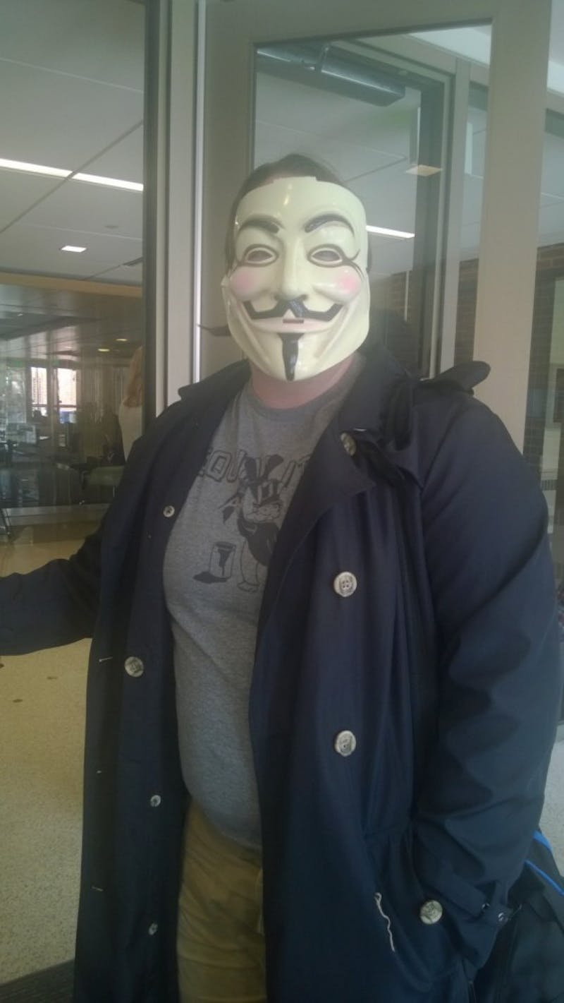 Some students came with a Guy Fawkes mask to get into the spirit of the film.