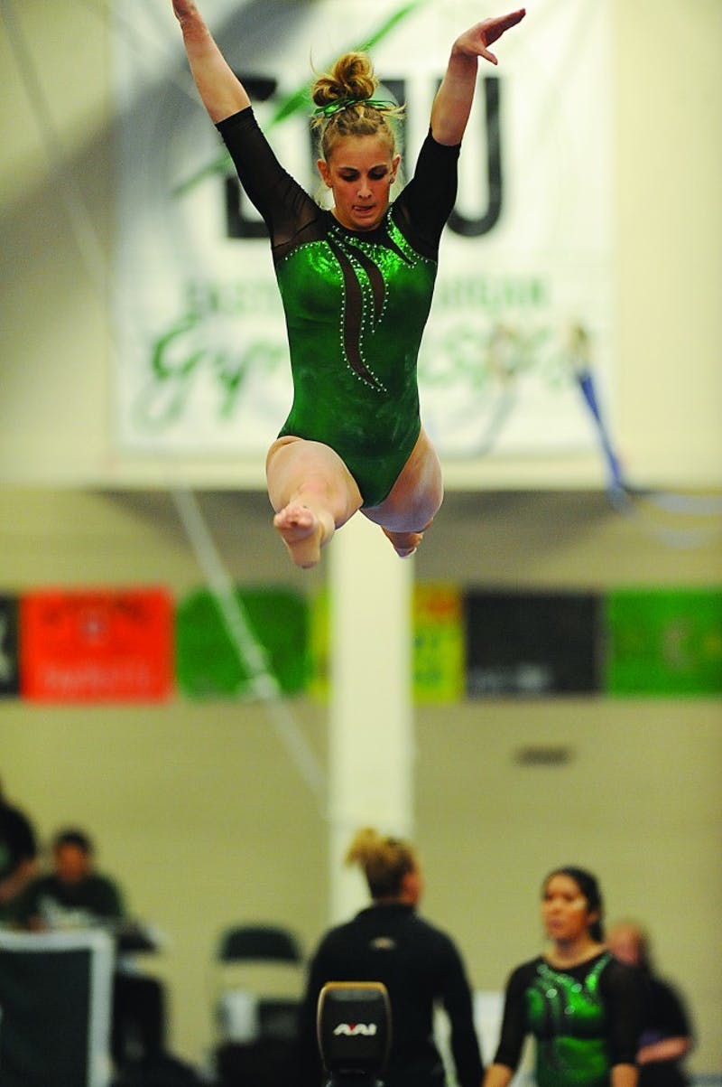 Freshman Kaylyn Millick, shown competing earlier this season, finished second in all-around competition against Bowling Green on Feb. 21.  She posted a 9.775 high score on the balance beam.