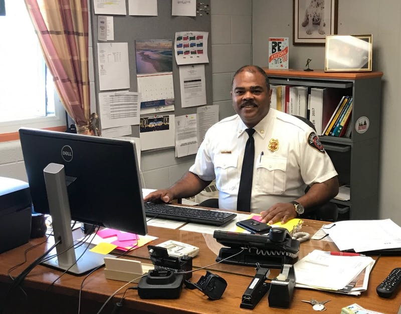 Fire Chief Ken Hobbs at his desk.