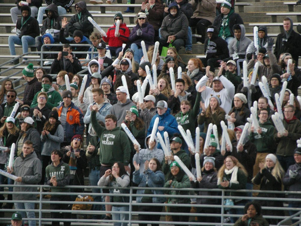 EMU student section cheers on the Eagles at Rynearson Stadium on Nov. 2.