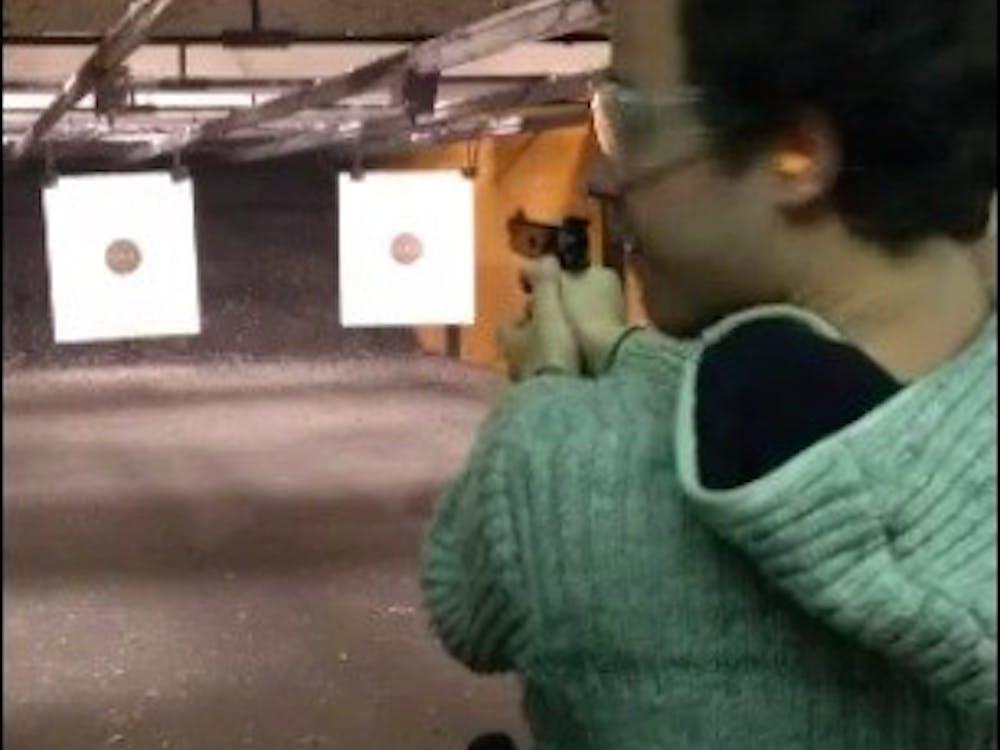 Leo Fabbri shoots a gun for the first time.
