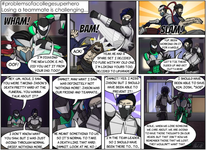 The hero Grappler (A.K.A. Joshua Dale) noticed his fellow hero and friend, E-Mo (A.K.A. Kole Zom), is still dealing with the loss of the hero and friend Poison-Spider (A.K.A. Jason Phillips), but not in the healthiest way...
