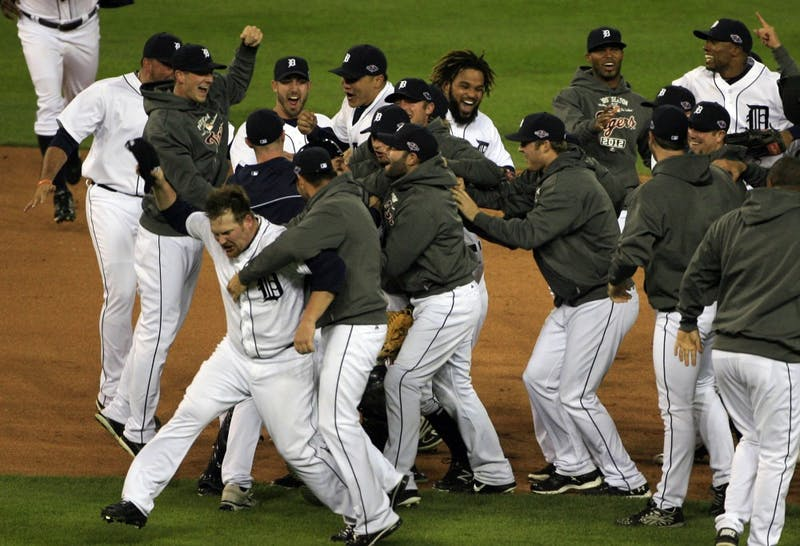 The Detroit Tigers celebrate an 8-1 victory over the New York Yankees in Game 4 of the American League Championship Series at Comerica Park in Detroit, Michigan, Thursday, October 18, 2012. The Tigers advanced to the 2012 World Series. (Mandi Wright/Detroit Free Press/MCT)