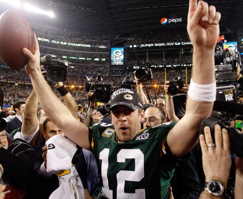 Packers' QB Aaron Rodgers led his team to a Super Bowl win and was awarded MVP.