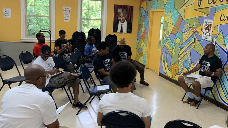 Ypsilanti City Councilman Anthony Morgan addresses the audience at the Y-Town S.W.A.G. Kickoff event on July 10.