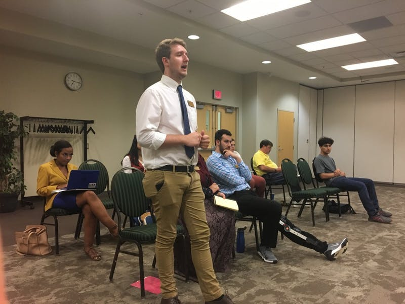 Student Body President Ethan Smith speaks at the Sept. 10 Student Senate meeting.