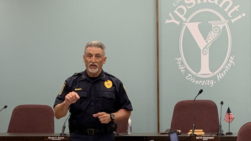 Ypsilanti Police Chief Tony DeGiusti addressed the audience at the July 23 public input meeting discussing gun violence.