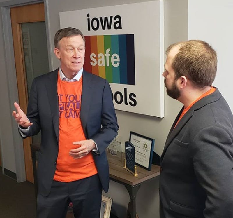 @johnhickenlooper on Instagram | Democratic presidential candidate John Hickenlooper at a campaign stop in Des Moines, Iowa.