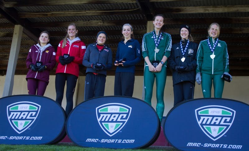 Sofie Gallein and Victoria Voronko are awarded All-MAC team honors during the MAC 