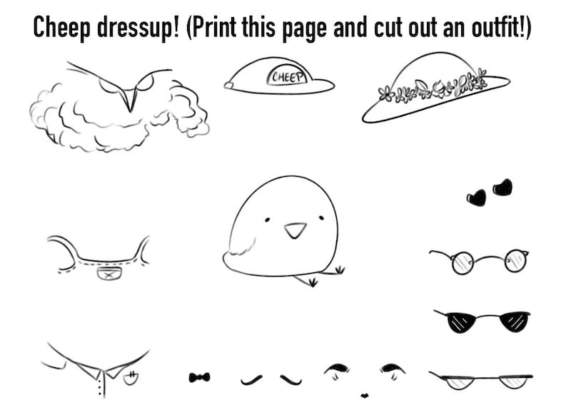 Dress Lil Cheep up! Print this out and cut out Lil Cheep's little outfits for a day of fashion!