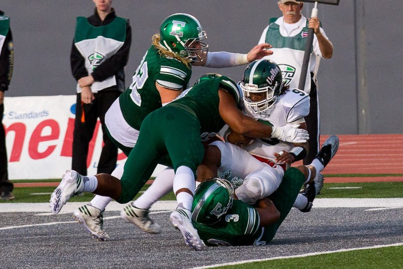 Mississippi Valley State quarterback Thurston Rubin Jr. gets sacked by three Eastern Michigan defenders on Sept. 2.