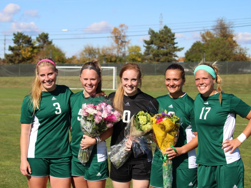 The Eastern Michigan University women's soccer senior class of 2015.
