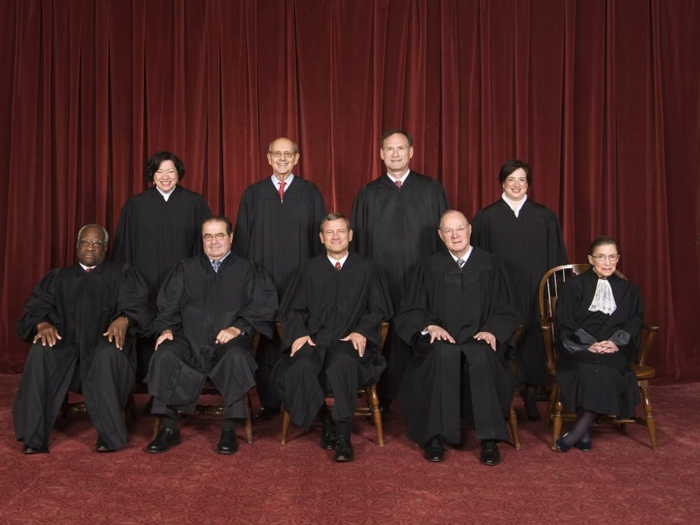 The justices of the U.S. Supreme Court. From left: Clarence Thomas, Sonia Sotomayor, Antonin Scalia, Stephen Breyer, Chief Justice John Roberts, Samuel Alito, Anthony Kennedy, Elena Kagan and Ruth Bader Ginsburg. (The Collection of the Supreme Court of the United States/MCT)