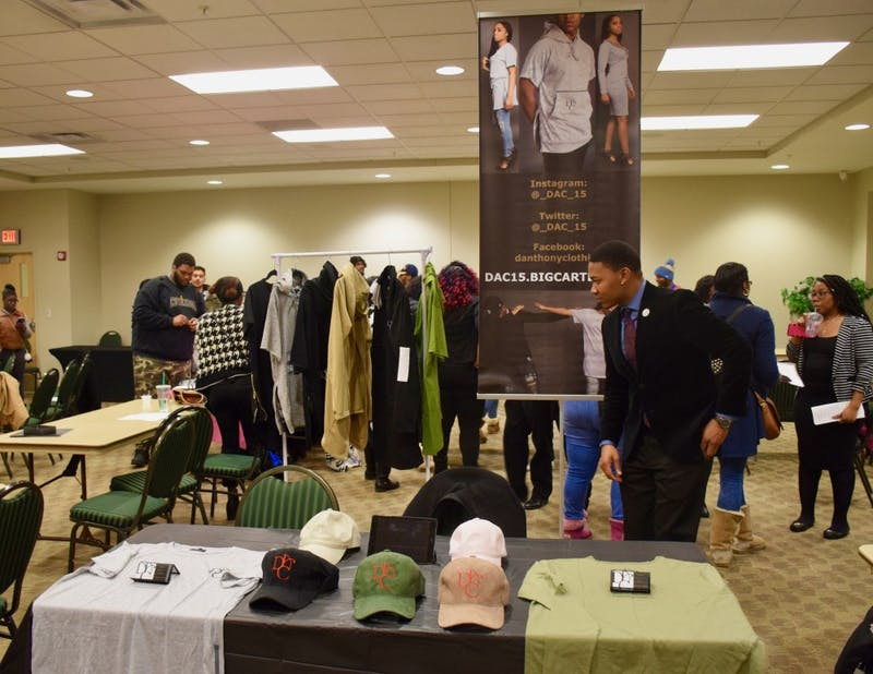 The creator of DAC clothing stood by his booth at BSU's Black Business Expo.