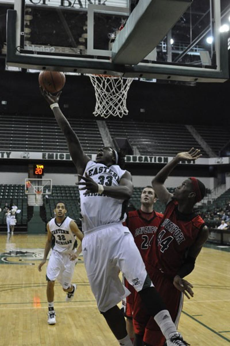 Brandon Bowdry goes for a layup Saturday. He had his third double-double.