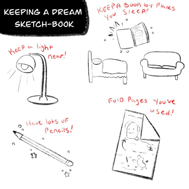 Ever had late night ideas? Keep a dream sketchbook with you!
