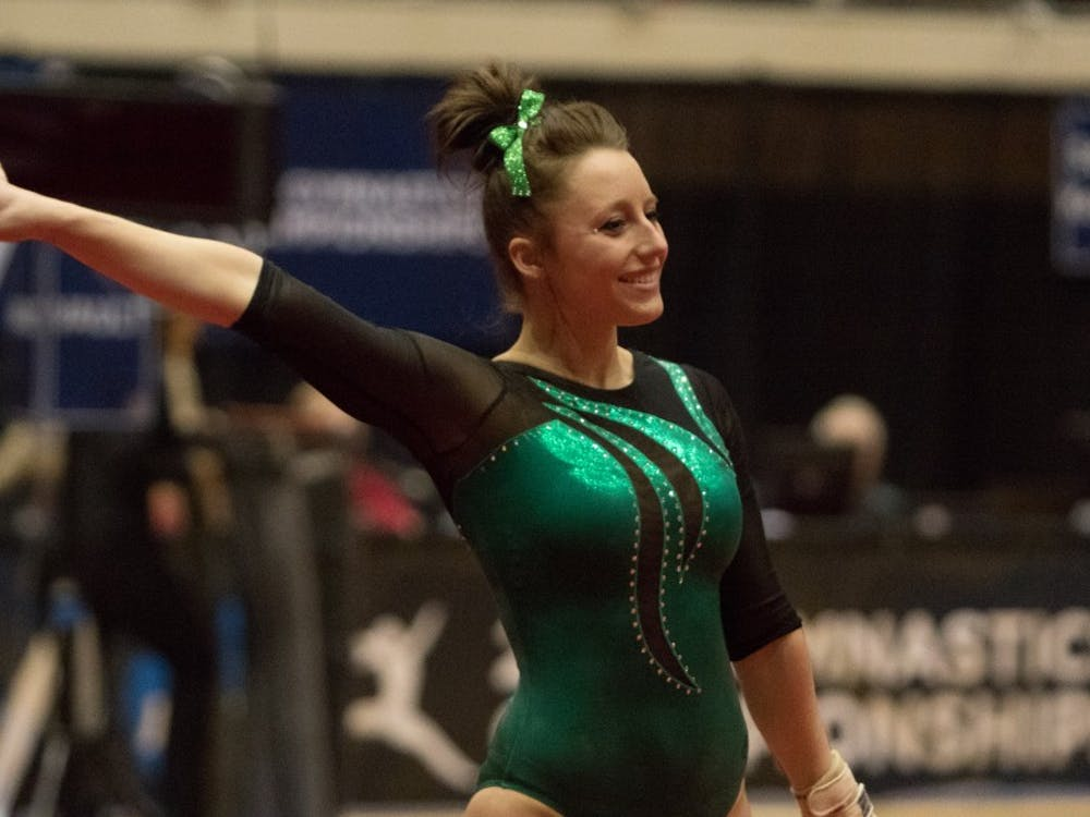 Anna Willette competes on floor at NCAA Regionals on April 4, 2015.