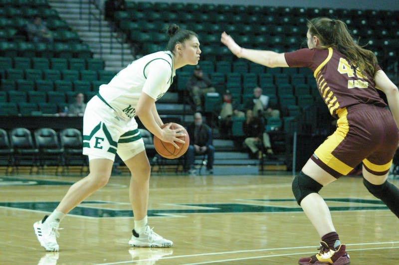 Natalia Pineda guarded by Central Michigan at the Convocation Center on Jan. 22.