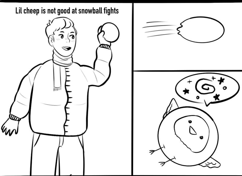 Snowball fights are a little... hazardous for Lil Cheep.