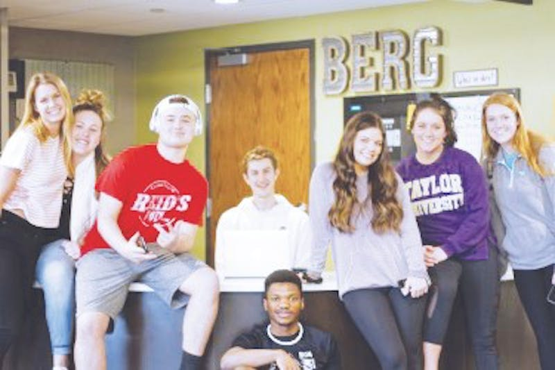 Students hang out in the lobby of Berg.