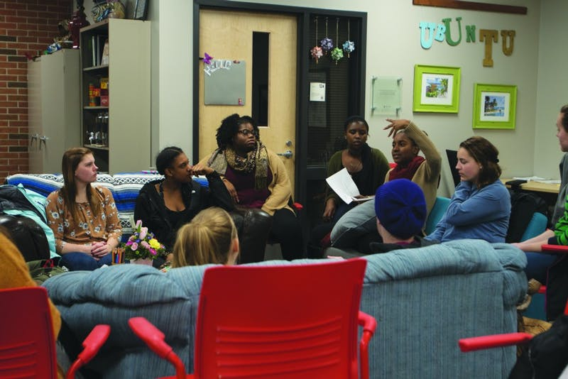 Women discuss important topics and seek to empower one another at their weekly meeting in the OIP office.