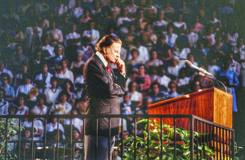 In May 1980, the Rev. Billy Graham captures the crowd at Market Square Arena in Indianapolis. (Photograph provided by Jim Garringer)