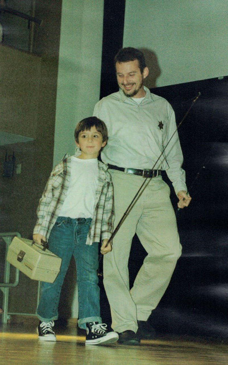 """Jeff Cramer makes an appearance with his son Ethan, dressed as characters from """"The Andy Griffith Show."""""""
