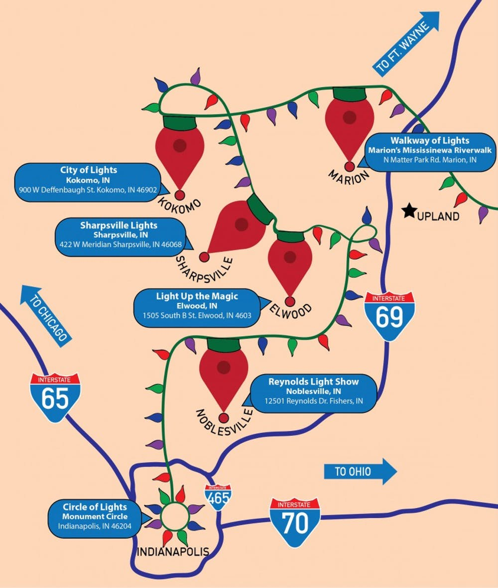 The Christmas light show road trip map