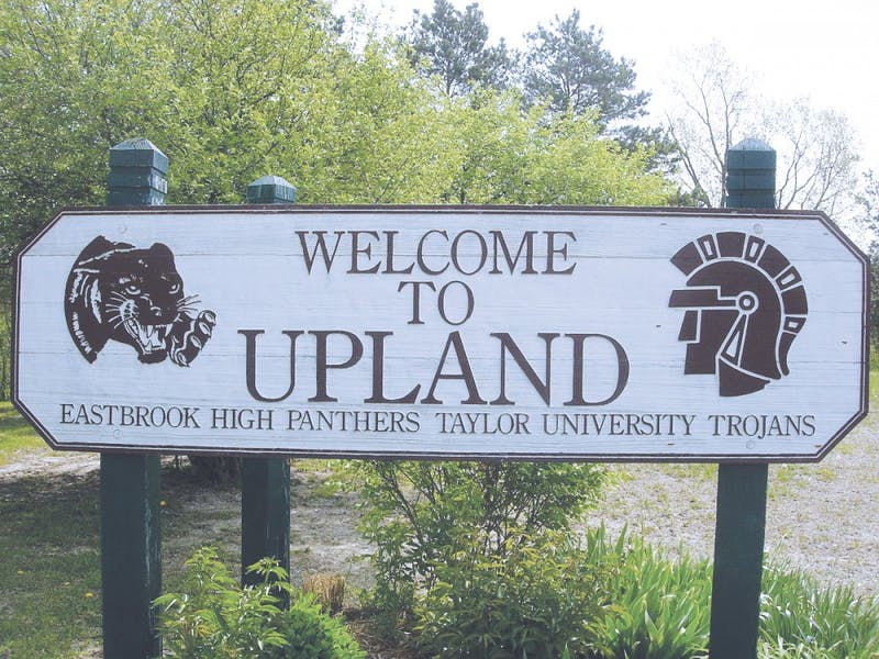 The current wooden signs for Upland will soon be replaced with a pair of new ones which will enhance the town's image. Photo by Jazmin Tuscani.