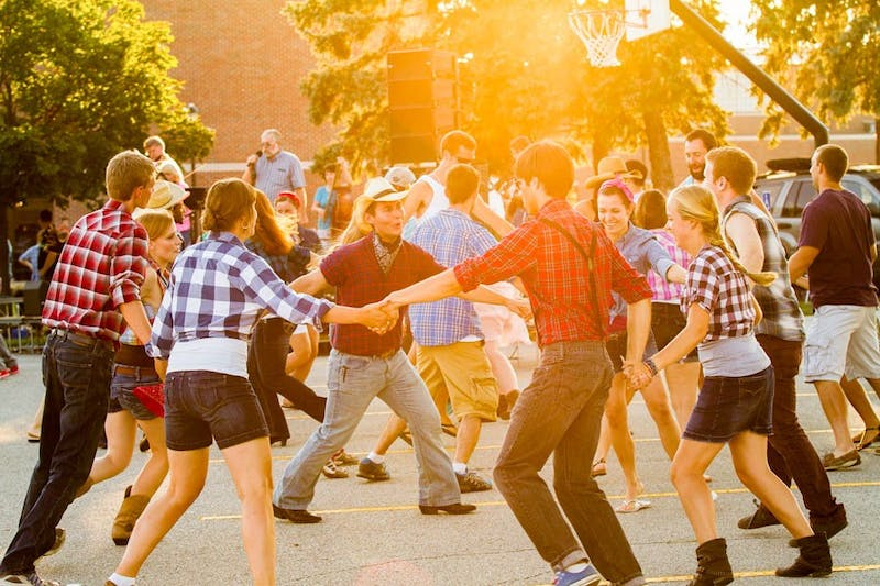 Many seniors' first Welcome Weekend memory is patterned with flannel, hay bales and Stetsons thanks to the annual Hoedown, last held in 2014 (photo provided by Ellen Hershberger).