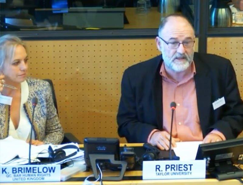Robert Priest was one of thirty to speak on witchcraft accusations at a U.N. workshop held in Geneva, Switzerland. (Photograph provided by Robert Priest)