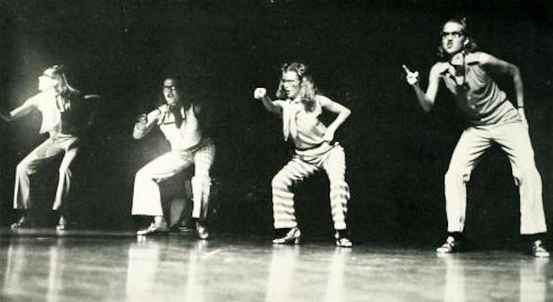 A group of girls performs alongside their wingmates on a Wednesday night in 1986.