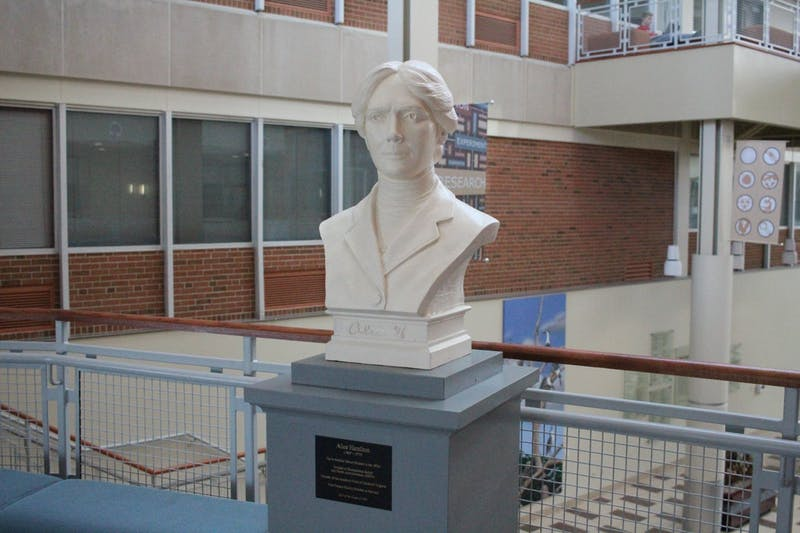 The bust honoring Alice Hamilton is on display in the Euler atrium.