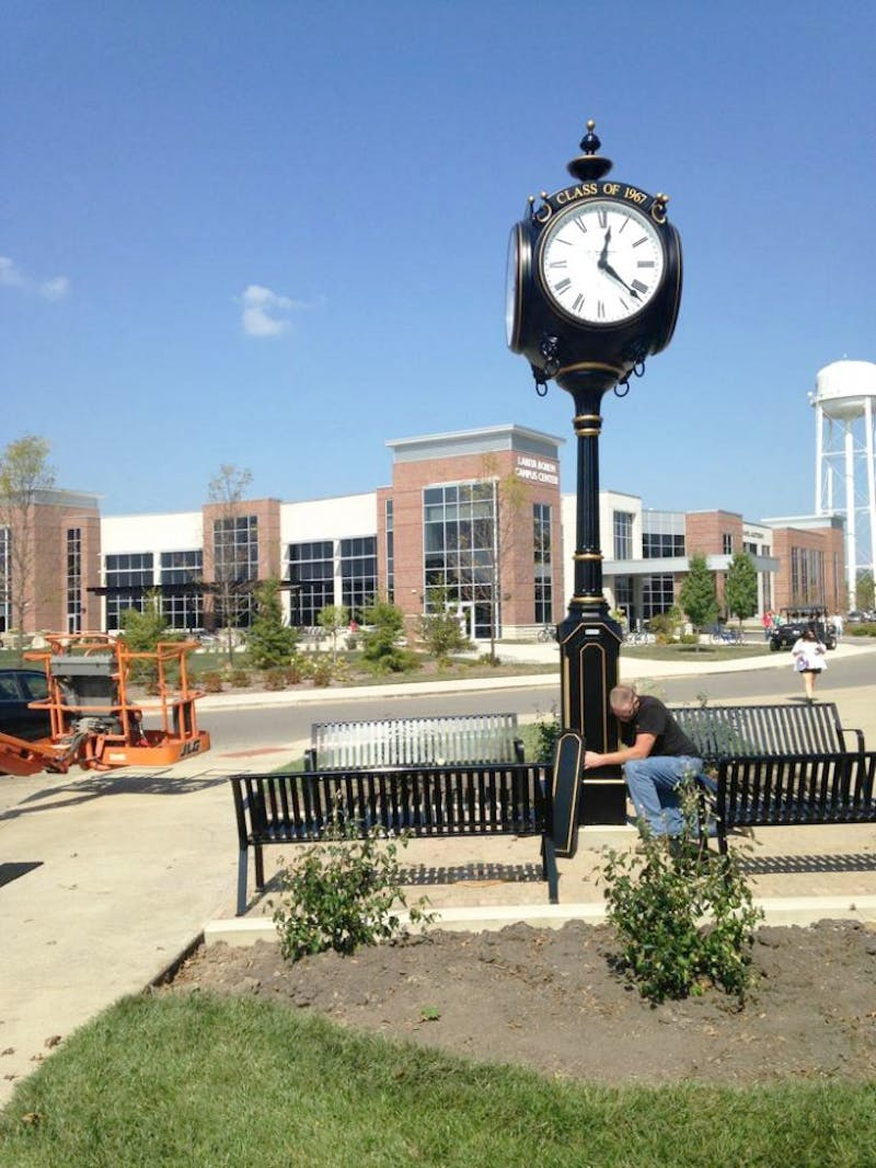 """The Verdin post clock got installed this past week to make the newest campus """"destination."""" (Photograph provided Becca Robb)"""