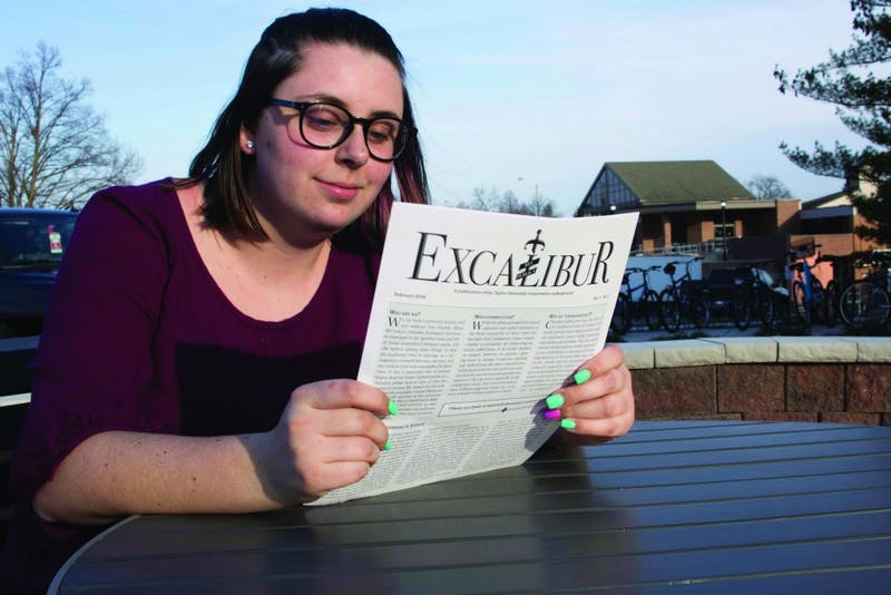 Freshman Dianne Gabrielsen grapples with the ideas presented in Excalibur following its release last Wednesday. (Photograph by Emmie Sweeting)