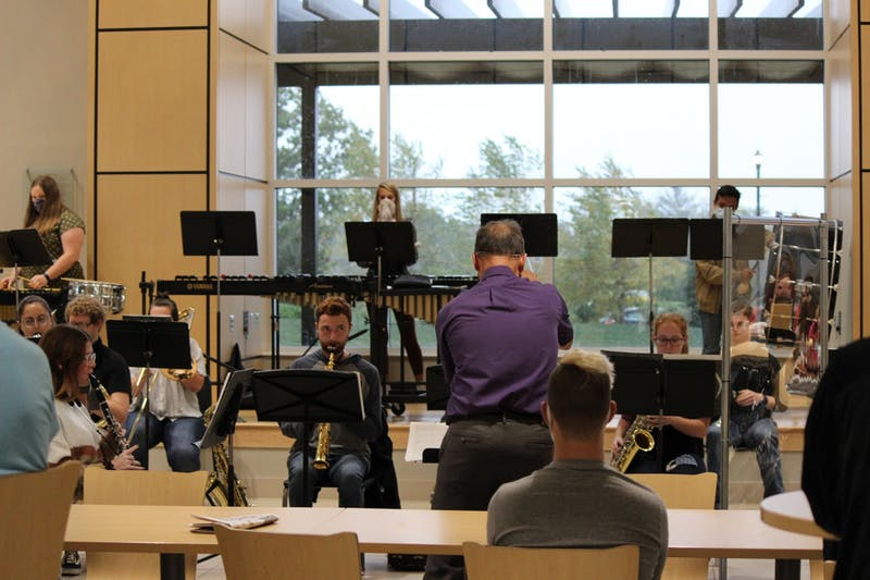Taylor University's Wind ensemble kicks off their semester with a performance on Oct. 12. (Photography by Anna Collins.)