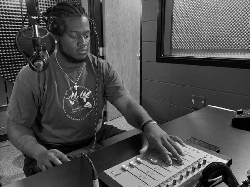 De'Ariss Hope at work in the Rupp recording studio