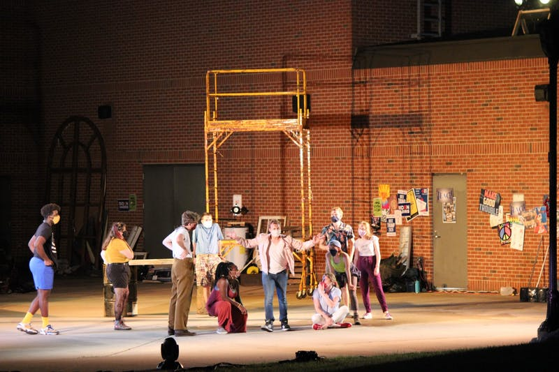 The cast of Taylor University's production of 'Godspell' rehearse, preparing for their completely outdoors production. (Photograph by Anna Collins)