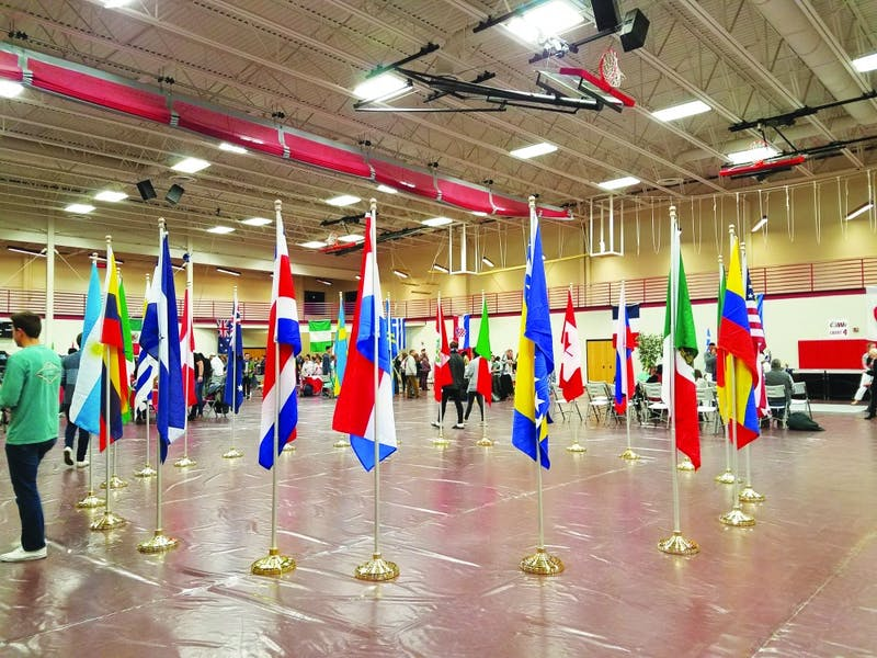 Different flags displayed at the event represent several cultures. (Photograph by Emily Russell)