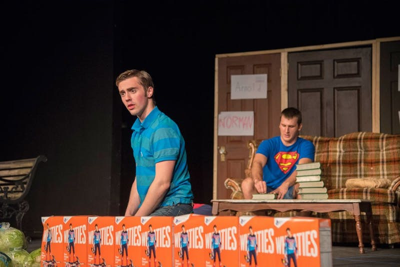 "Sophomore Ty Kinter and Junio Neil Perry perform a scene in ""The Boys Next Door."""