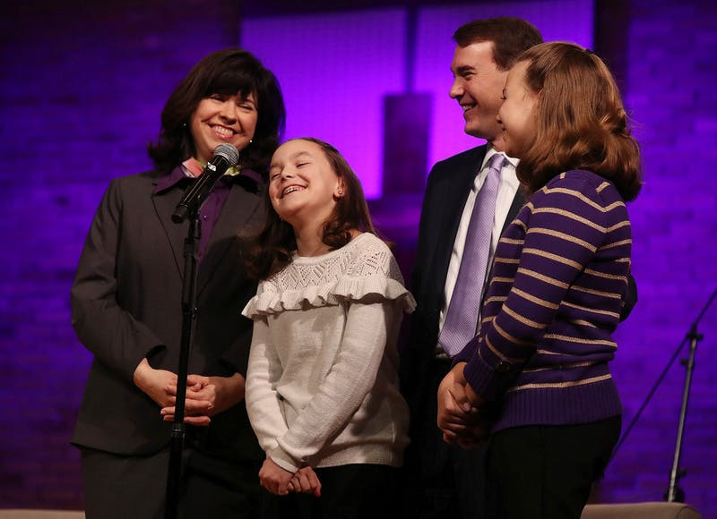 The Lindsay family was welcomed to the Taylor community during chapel on March 17.