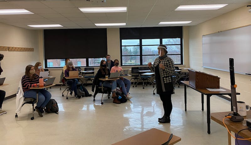 Abby Kuzma educates Taylor students about modern day slavery in her class on human trafficking.