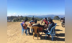 Junior David Hnanga had the opportunity to teach his home village and other areas about music.
