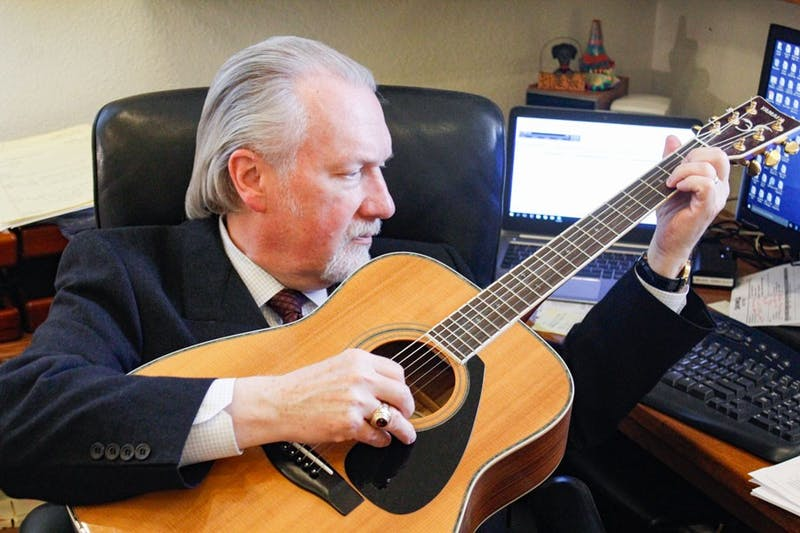 President Paul Lowell Haines, the 31st president of Taylor, has more on his plate than some may realize, but hopes to make more time for playing music (photo by Justin Chapman).