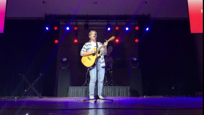 Freshman Trent Repass performs Brittany Spears' 'Baby One More Time' for his first MyGen experience. (Photograph provided by Zach Brandon)