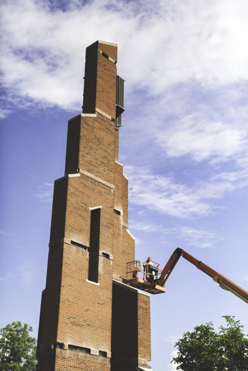 Falling bricks prompted construction on the Bell Tower. (Photo by Halie Owens)