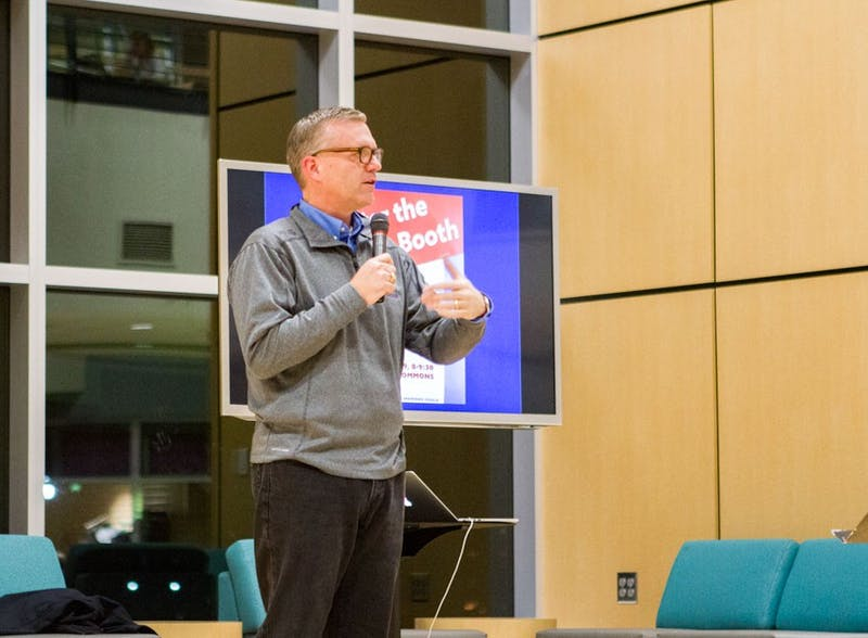 Dr. Michael Hammond ('92) dean of the school of liberal arts speaks about life post-election. Photo by: Naomi Page