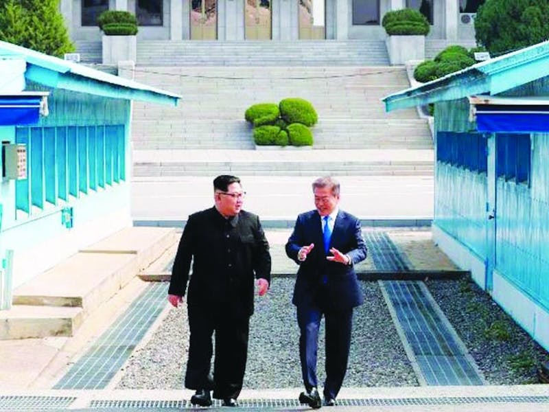 Leaders Kim Jong-Un and Moon Jae-in met in the border town of Panmunjom to discuss possible denuclearization. (Photograph provided by WRTV6)