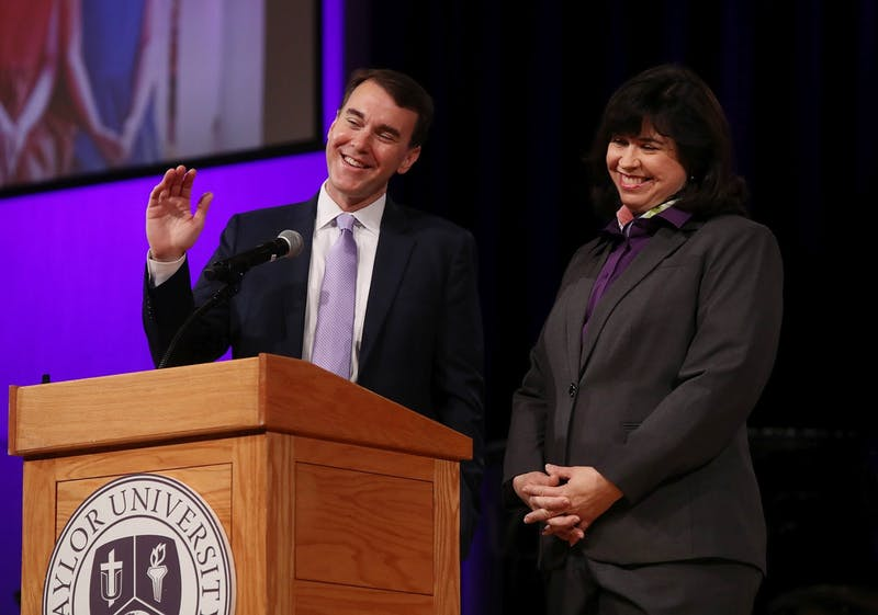 Michael Lindsay and his wife, Rebecca, were introduced to the student body in March.
